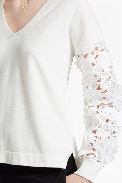 f3c1684398c2c Manzoni 3D Floral Lace Sleeved Jumper | Jumpers & Cardigans | French  Connection