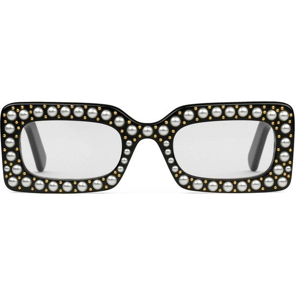 2df8abb162a Gucci Rectangular-Frame Sunglasses With Pearls ( 1