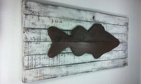 Lake Art Rustic Fish Decor Wood Fishing Gift Cabin Decoration Fisherman Fathers Day Wall