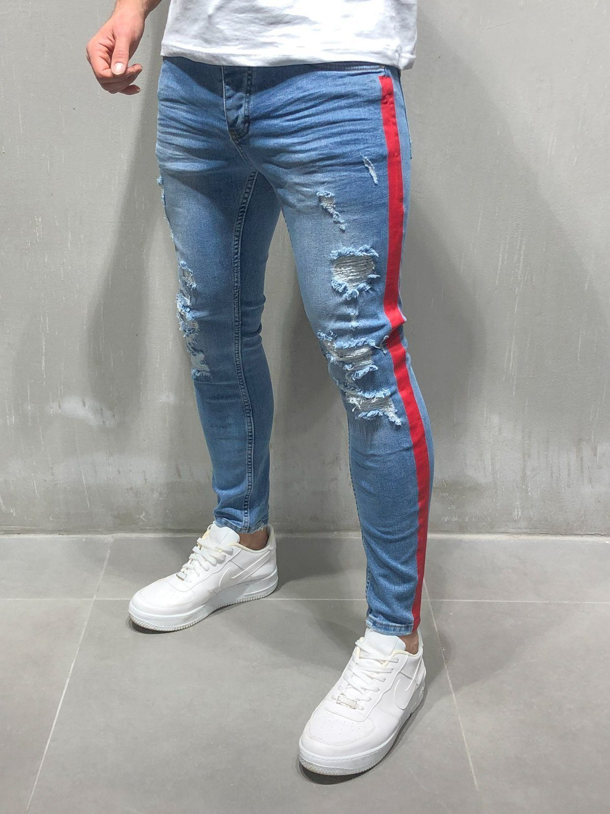 d2cb47d7b2e Skinny Ripped Jeans Side Stripes - Blue in 2019 | Products | Jeans ...