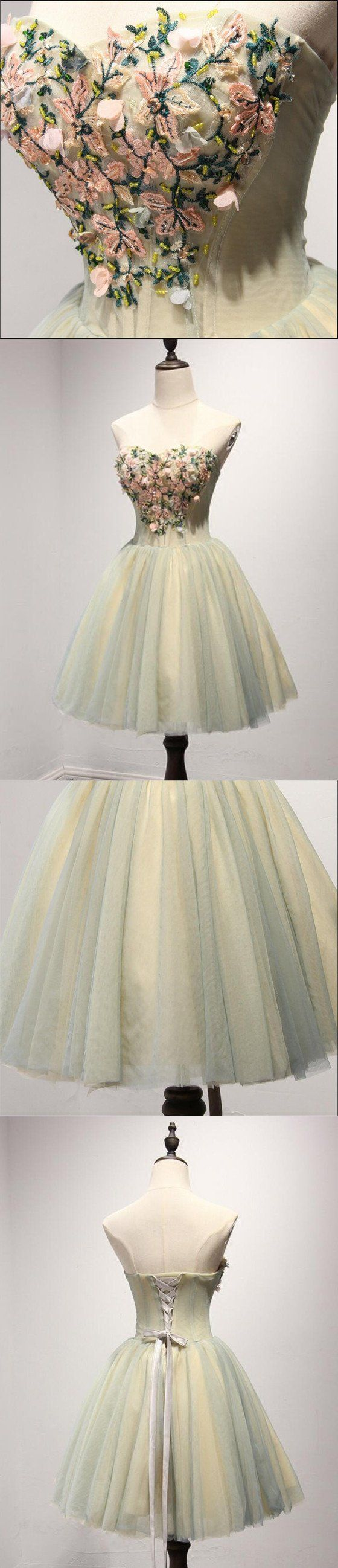 Unique yellow and green sweetheart homecoming prom dresses short