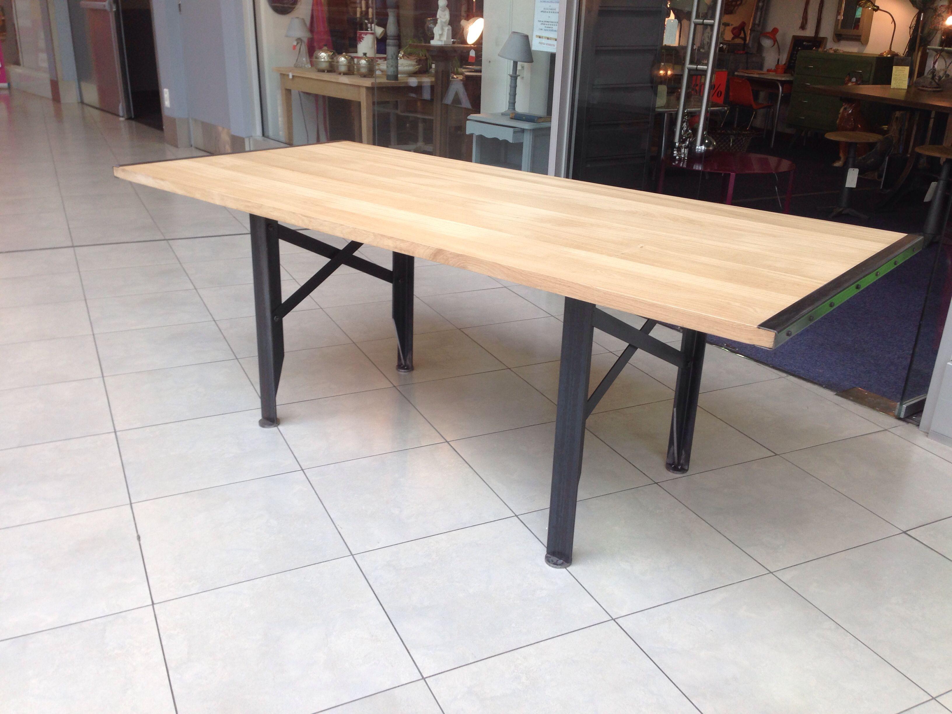 Table repas style industriel sur mesure en métal patine noire ...