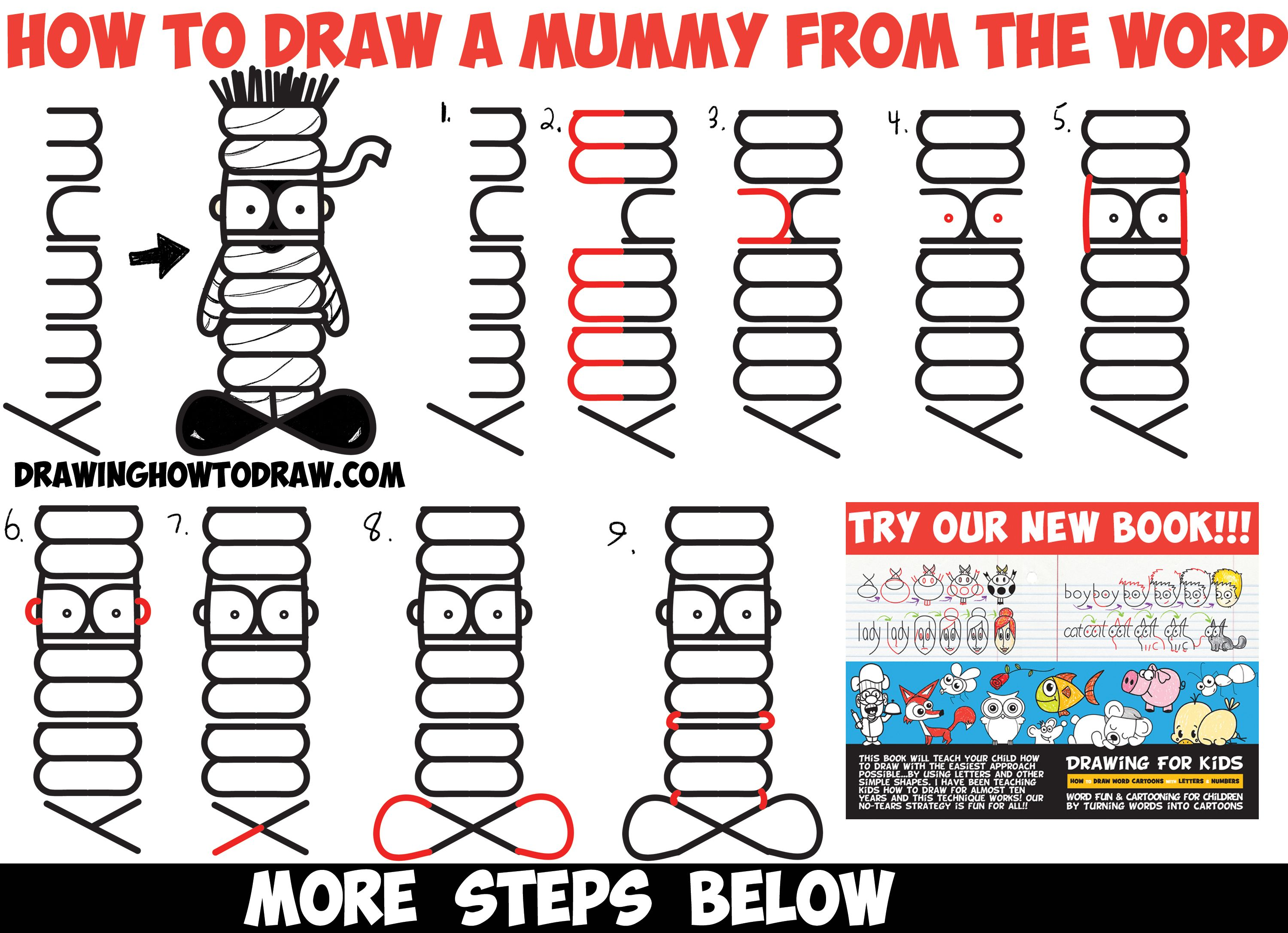 how to draw a cartoon mummy word toon cartoon easy step by
