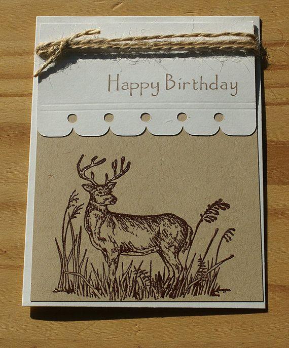 Birthday Deer Greeting Card Stamped Cards Cards Greeting Cards Handmade