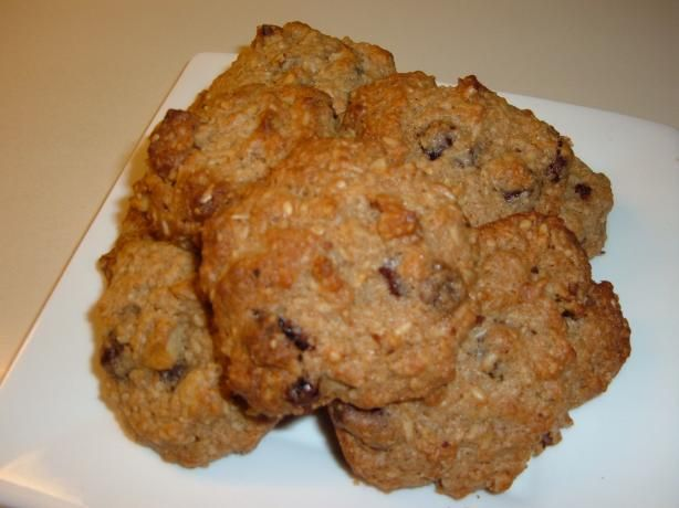 Whole Grain  steel-Cut  Oatmeal cookies. Made them twice, once with craisins and chocolate chips, second time with chocolate chips only. Good way to use up my giant bag of steel cut oats.