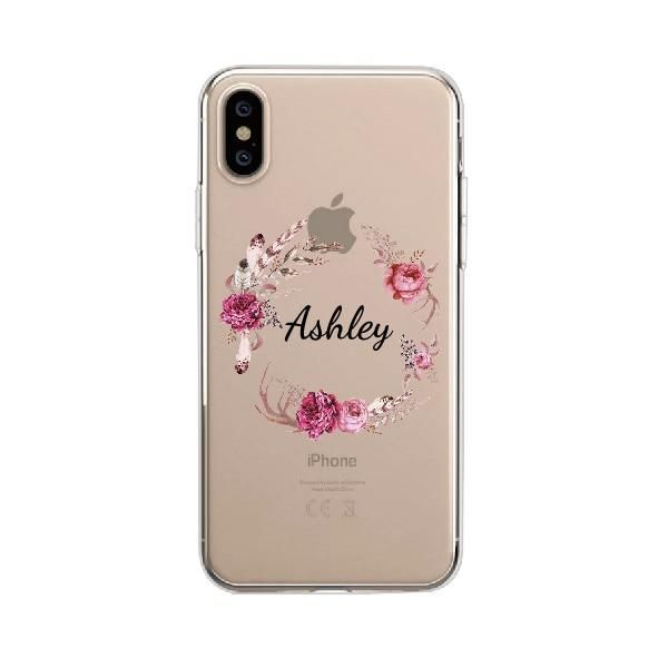 Personalised Flower iphone Case - iPhone 6Plus / Floral 2 / Black Text