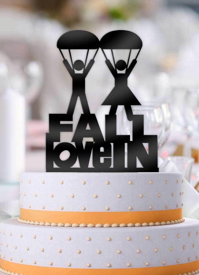 Fall In Love Parachute Wedding Cake Topper