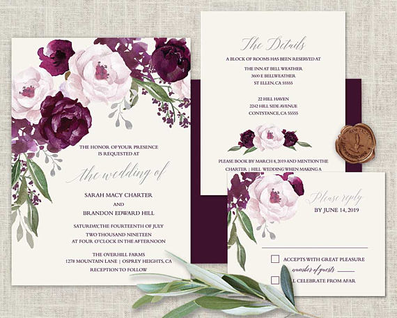 Purple Wedding Invitation Set Plum Wedding Invites Watercolor