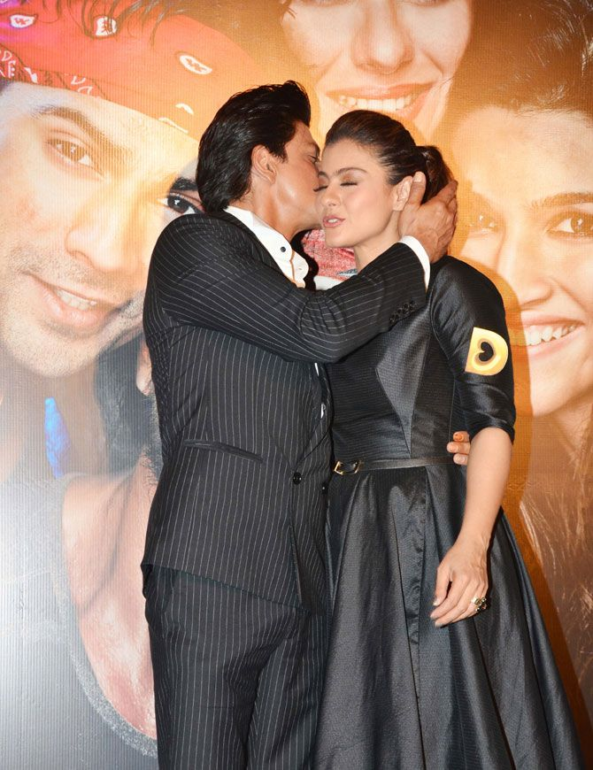 Shah Rukh Khan warmly greets co-star Kajol on stage at #DilwaleTrailer launch. #Bollywood #Dilwale #Fashion #Style #Beauty #Cute #Romance