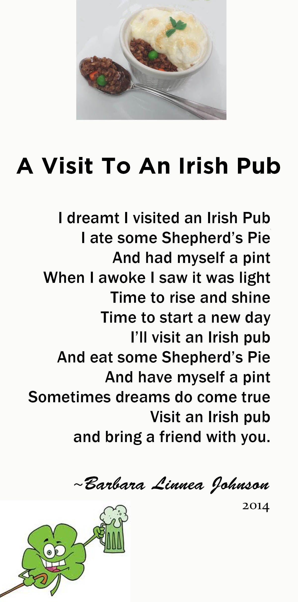 a visit to an irish pub an original poem by barbara linnea