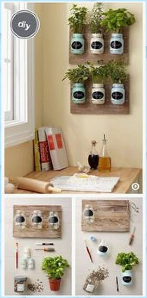 Küchenkräuter Deko selber basteln - DIY Wanddeko #DIY # Deko Kuche