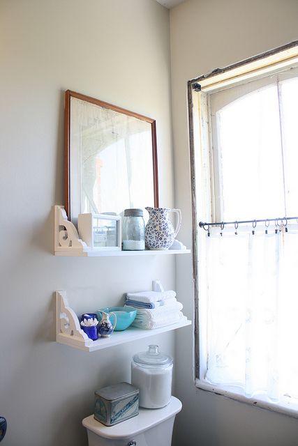 vintage inspired bathroom shelves, love it!