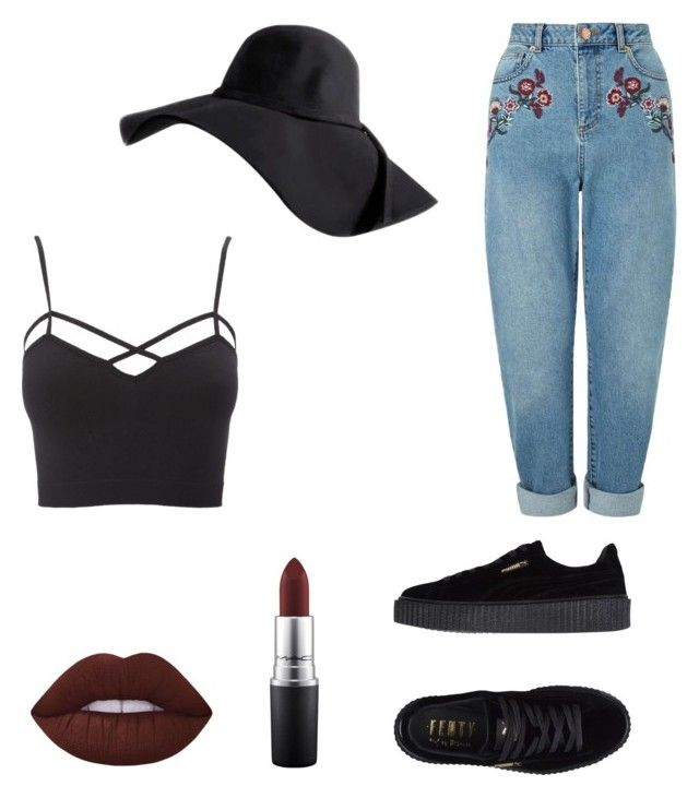 """""""Embroidered jeans outfit"""" by miriamrose02 on Polyvore featuring Miss Selfridge, Charlotte Russe, Puma, MAC Cosmetics and plus size clothing"""