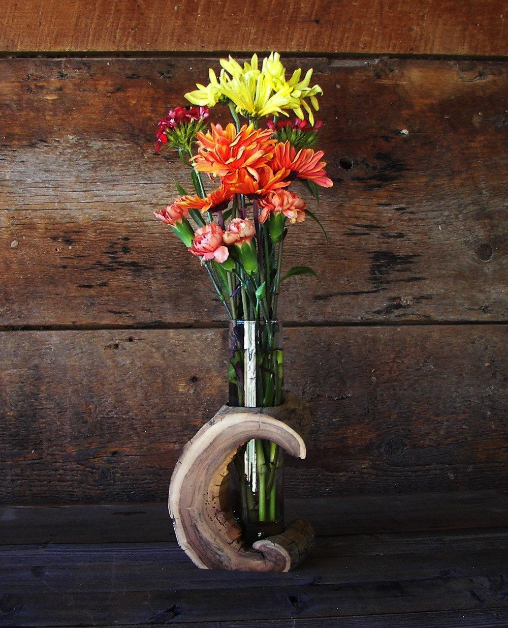 Rustic Hollow Log Vase Wood Home Dcor