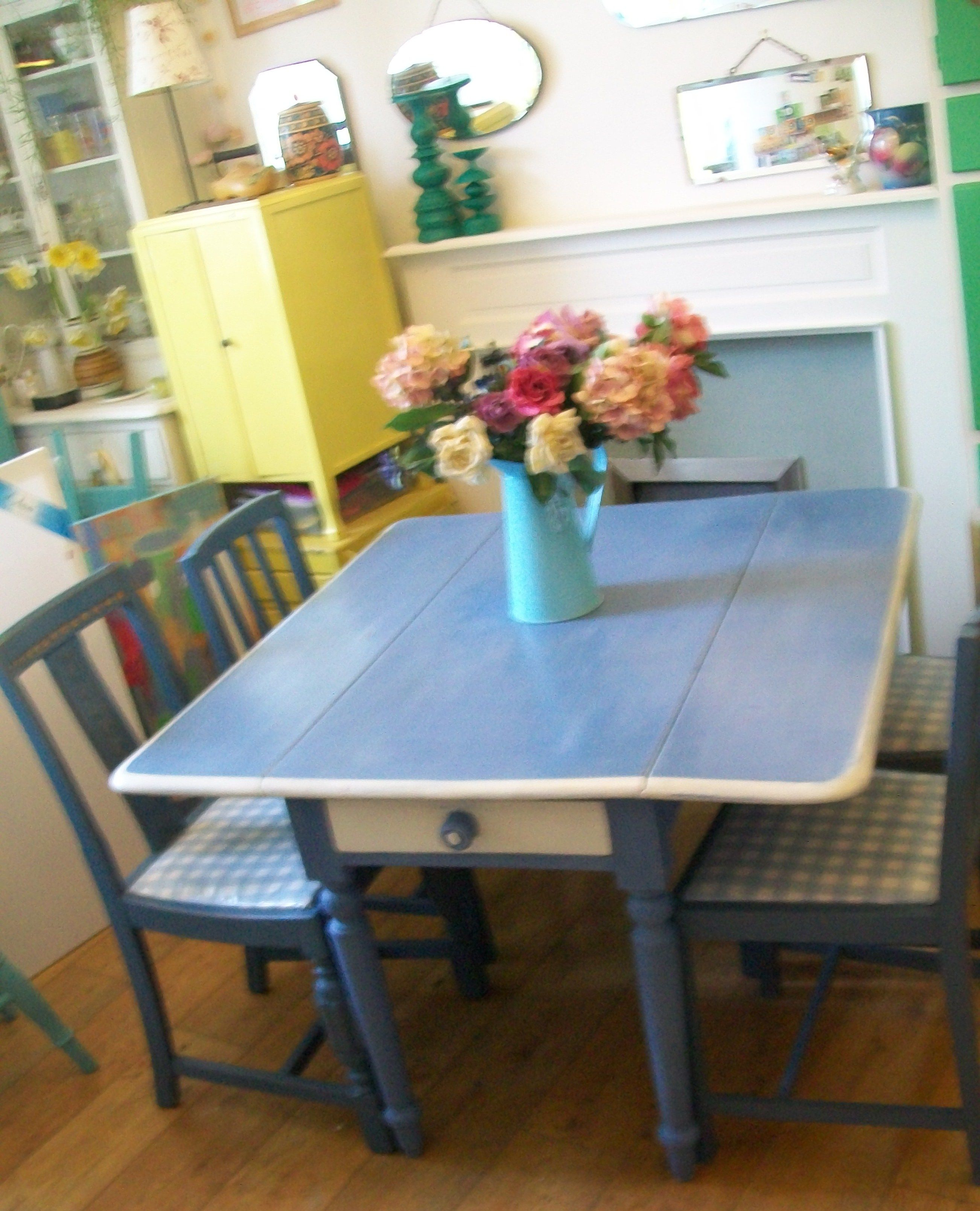 Victorian Drop Leaf Table and Vintage Chairs re-loved in Annie Sloan ...