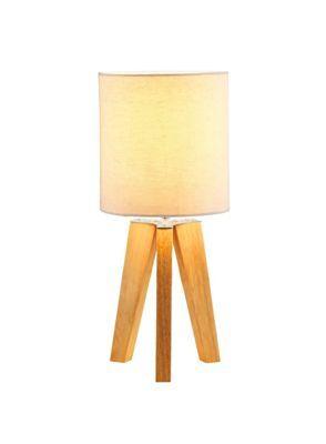 Small Tripod Lamp   Light Wood With Cream Shade | Homebase