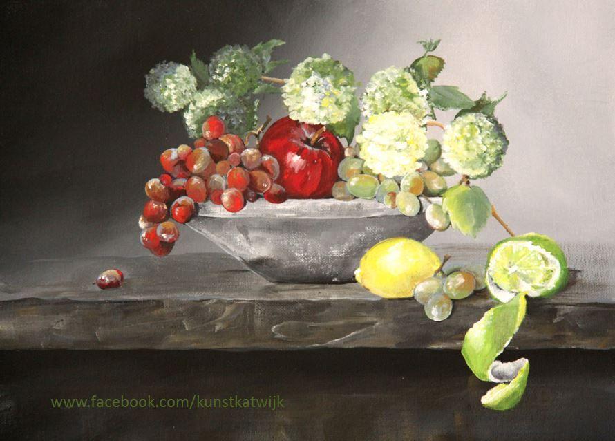 Still life fruit, acrylic 30x40 cms