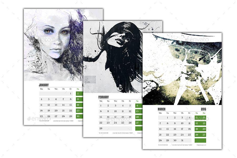 Wall Calendar 2016 V2 Wall Calendar Floral Typography 2016 Calendar