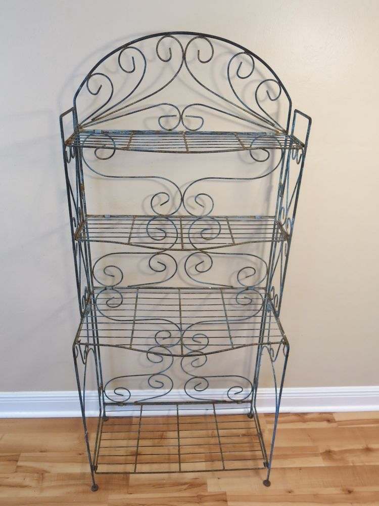 Vintage Wrought Iron Bakers Rack Plant Stand Rustic Blue W Patina