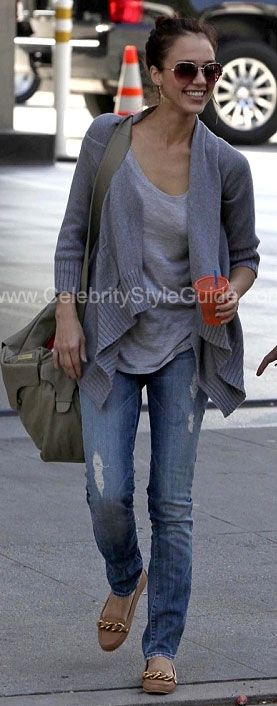 Jessica Alba Style and Fashion - 7 For All Mankind Roxanne Skinny ...