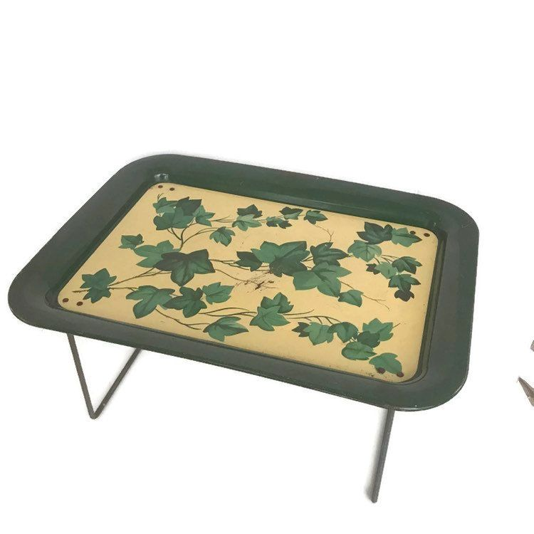 Vintage 1950s Tv Tray With Folding Legs Green Ivy Retro Serving Tray Country Home Decor Lap Tray Cottage Chic De Cottage Chic Decor Lap Tray Country Home Decor