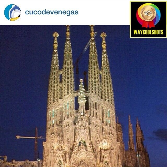 """today 2014/04/08 @waycoolshots presented me and featured this pic as «WAYCOOLSHOT!!» saying """"Jon's Pick!! Magnificent Scene Captured by cucodevenegas Elegant Structure Super Shot Friend!!"""" tagged to #waycoolshots «Sagrada Familia by night...» #wenrolling"""