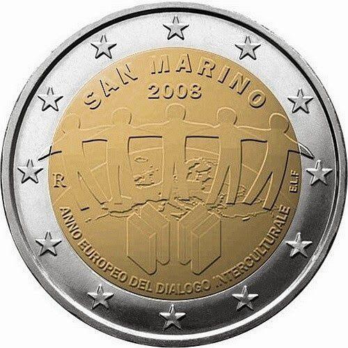 Sammarinese Commemorative 2 Euro Coins 2008 European Year Of Intercultural Dialogue Commemorative 2 Euro Coins From San Marino Euro Coins Coins World Coins