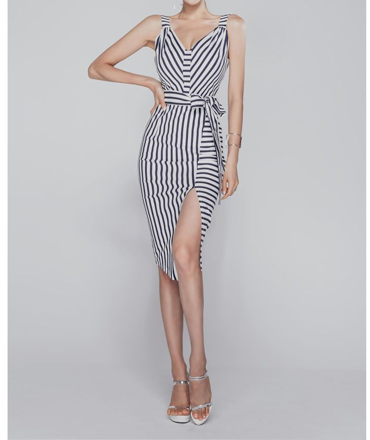 Aurora Sleeveless Cutout Slit-Front Striped Dress | YESSTYLE