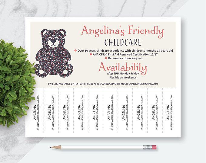 made to order nanny babysitter tear off marketing flyer fun nanny flyer nanny babysitter teddy bear flyer printable digital file