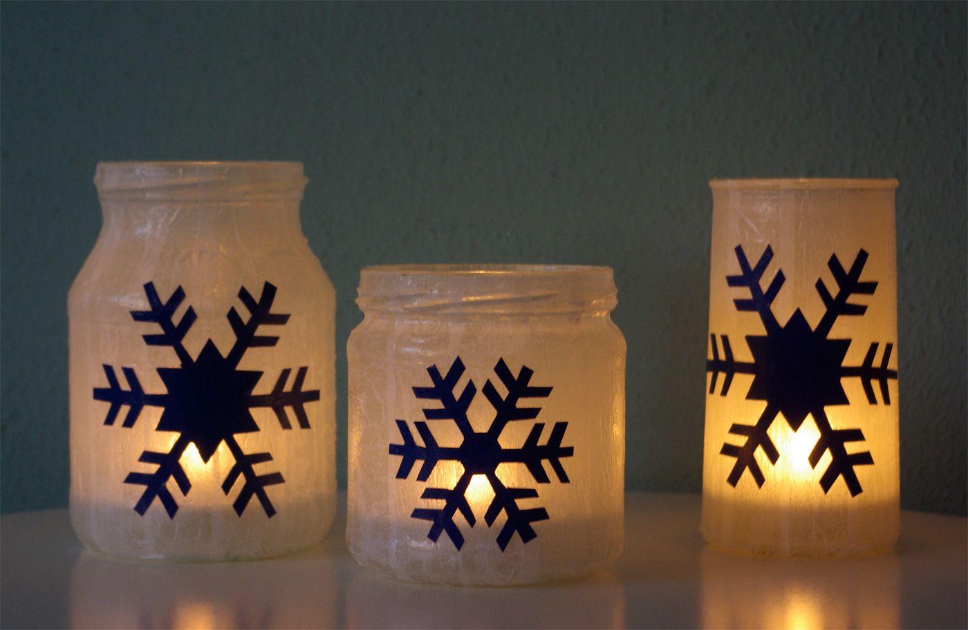 windlichter schneeflocken weihnachten basteln selber. Black Bedroom Furniture Sets. Home Design Ideas
