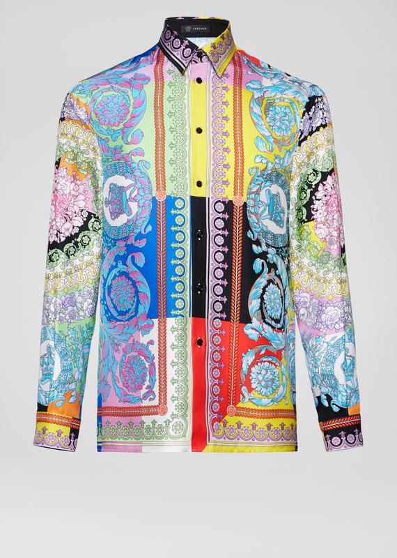 bc582d9bf0 VERSACE Technicolor Baroque Silk Shirt. #versace #cloth | Versace in ...