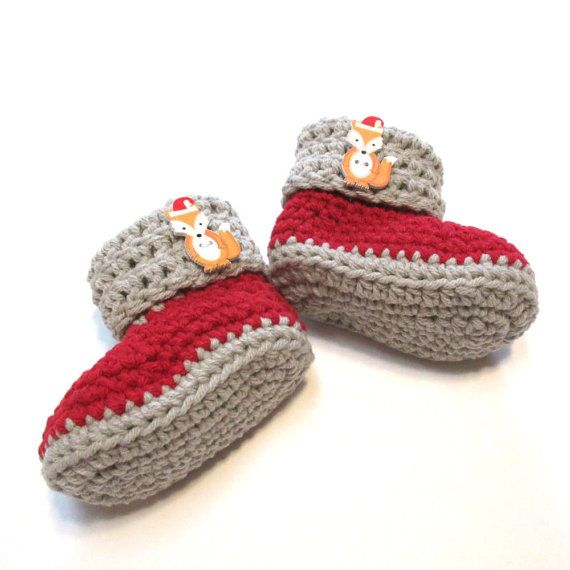 baby christmas booties ready to ship 0 3 months crochet baby booties fox with santa hat cotton baby booties