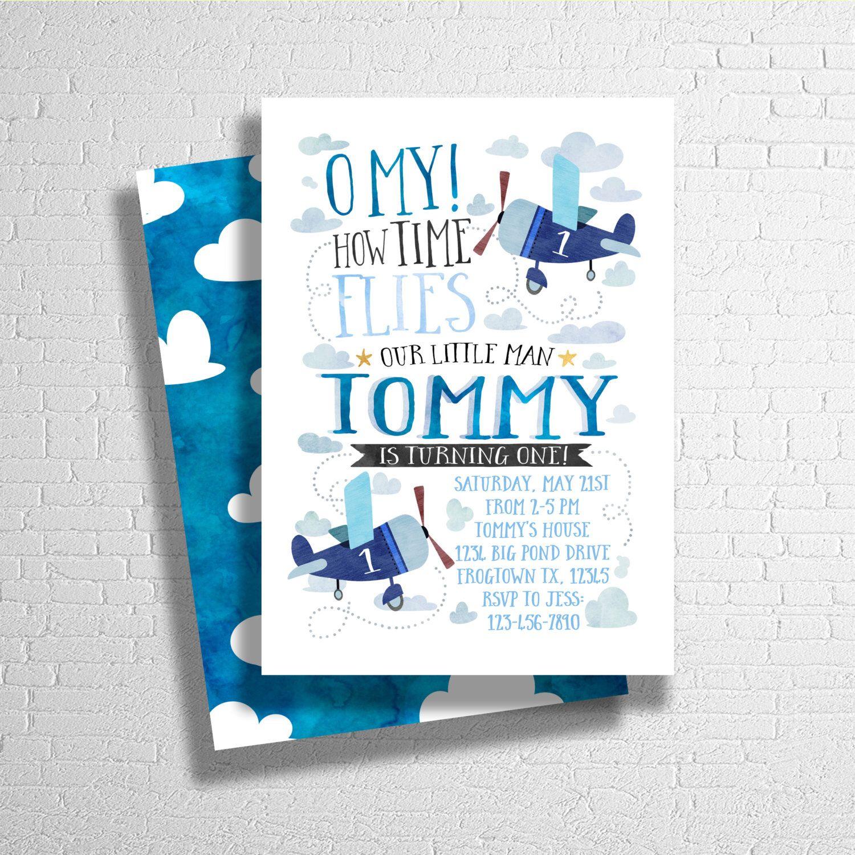 Airplane Birthday Invitation | Airplane Birthday Invite | Time Flies ...