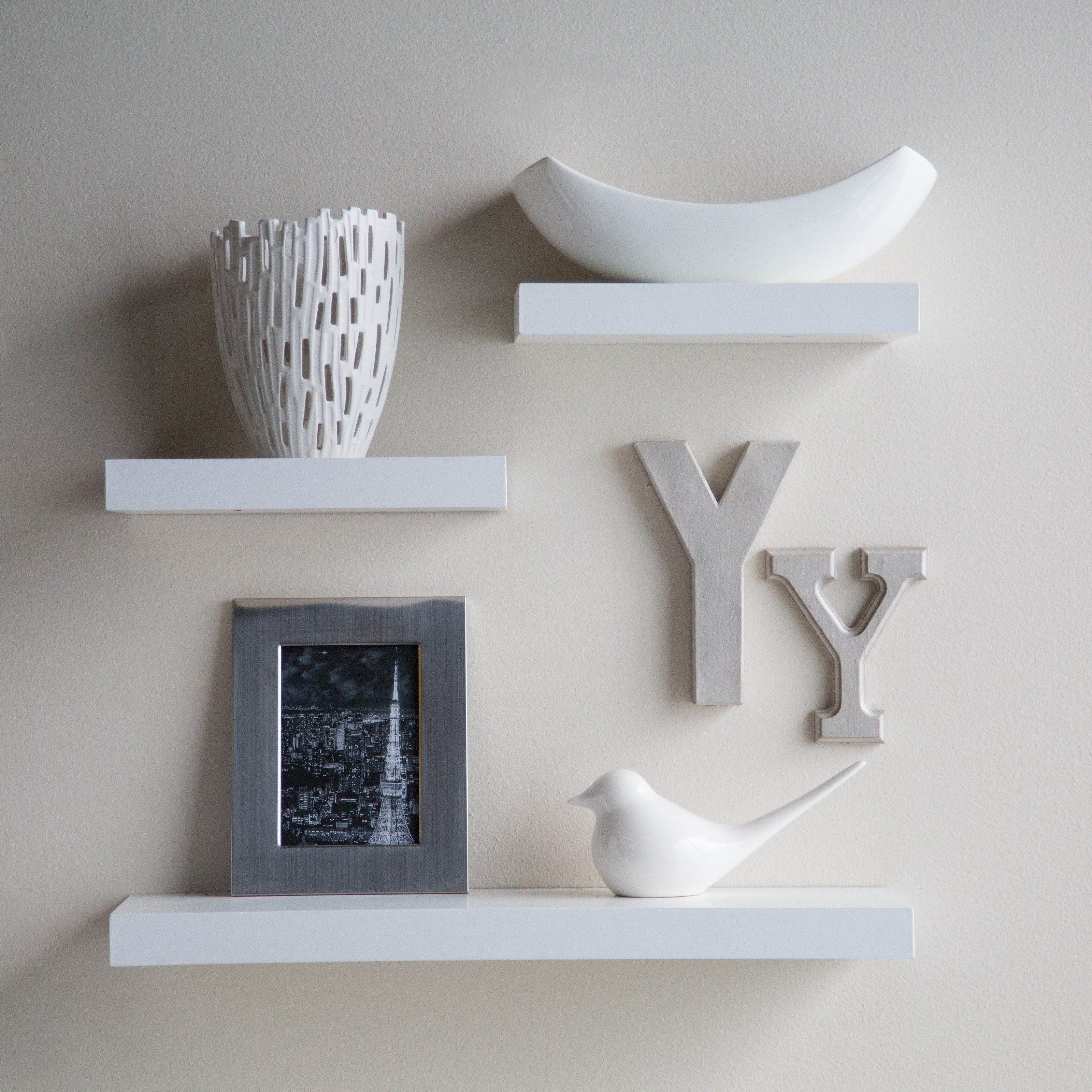 Clues Offers Decornation Floating Wall Shelf Set Of 3 Shelves 24 Inches 12 White At Best Prices Emi Options Are Also Available For