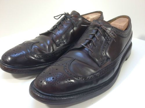 VTG Florsheim Imperial Mens black pebble grain v cleat 5 nail wingtip shoes 13B