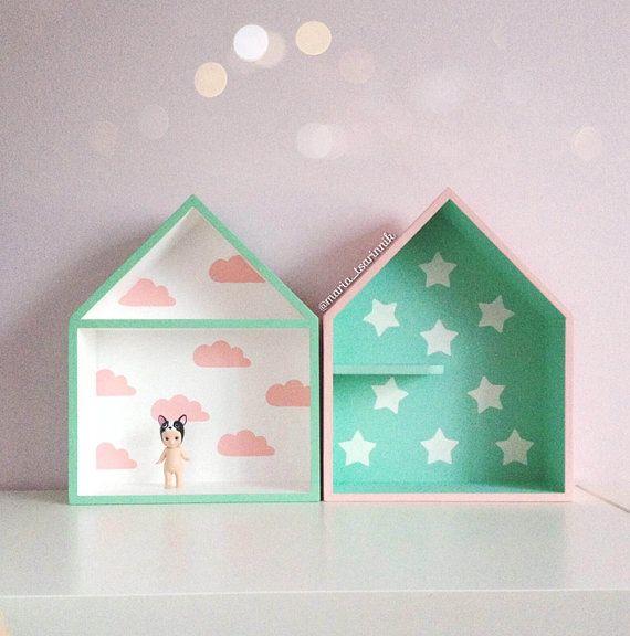 Inspirational Haus Set geformt Regal Regal Holzhaus Kinder Regal Haus Shadow Box