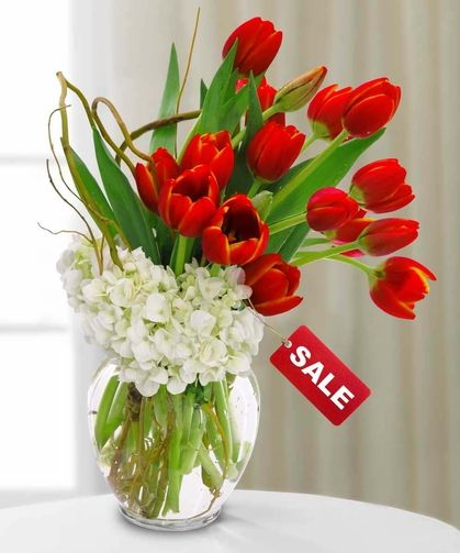 Regal Valentine Tulips Arrangement Spring Flower Arrangements Flower Arrangements