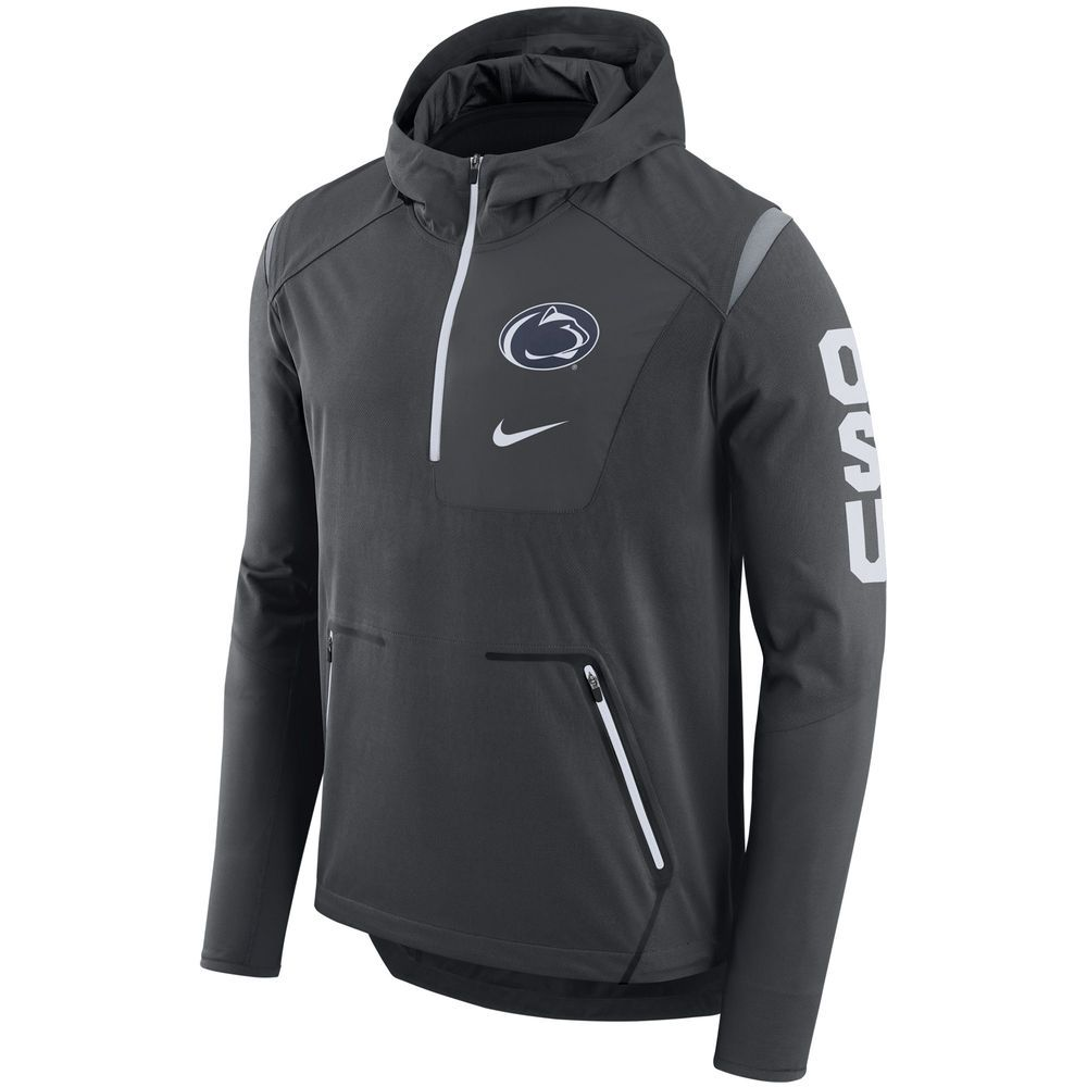 Penn State Nittany Lions Nike Alpha Fly Rush Sideline Half Zip Pullover Jacket Anthracite Quarter Zip Hoodie Pullovers Outfit Half Zip Pullover [ 1000 x 1000 Pixel ]