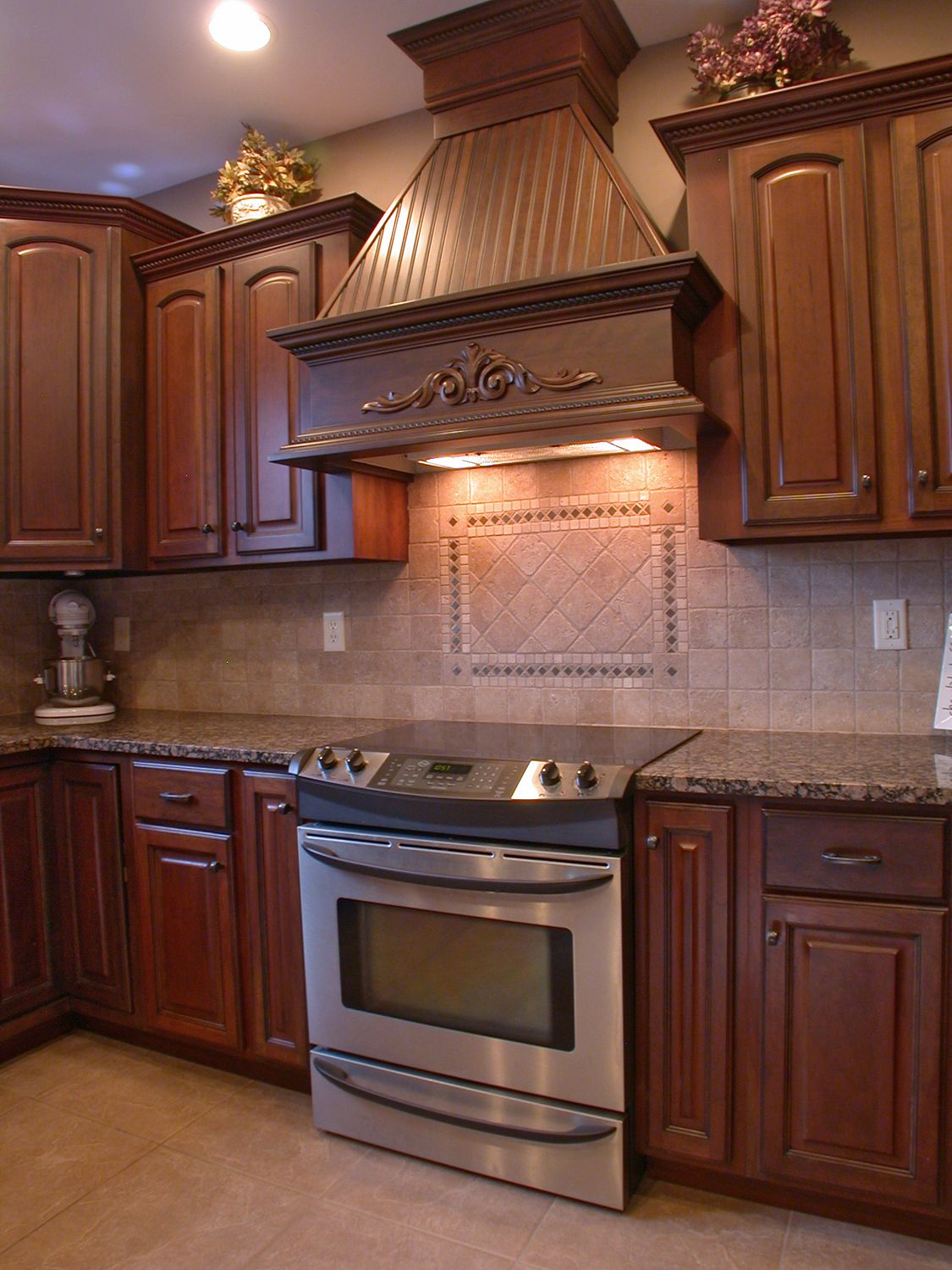 Custom Wood Range Hood To Match Cabinetry Kitchen
