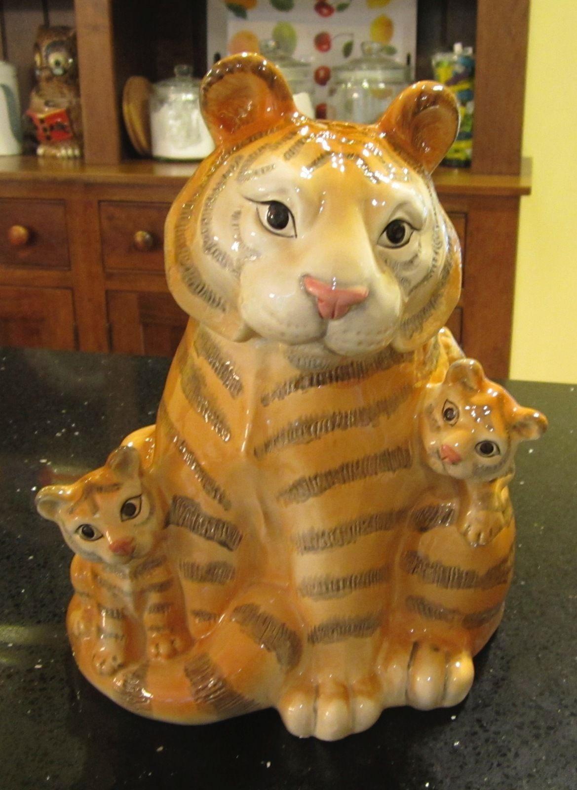OCI Omnibus div Fitz & Floyd TIger Mother Cub Vintage Cookie Biscuit Jar  Ceramic | eBay