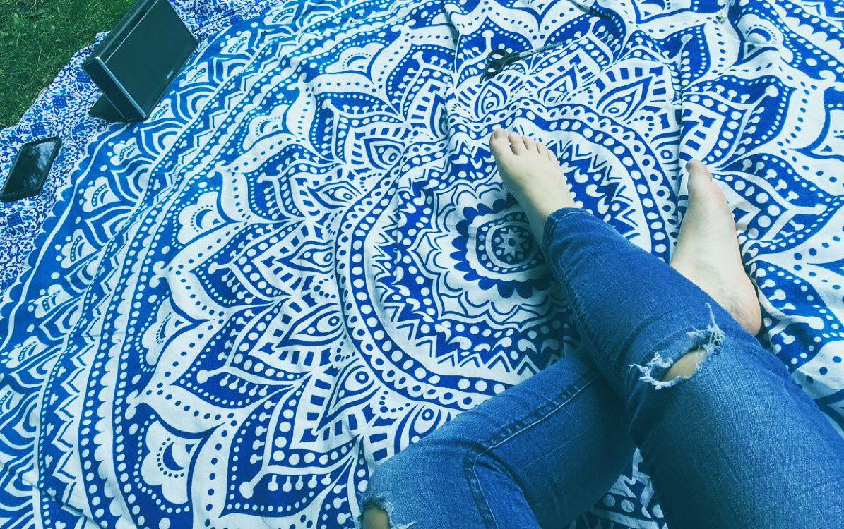 Blue multi elephants sun ombre mandala wall tapestry royalfurnish -  Blue Ombre Mandala Tapestry Beach Roundie Summer Deal
