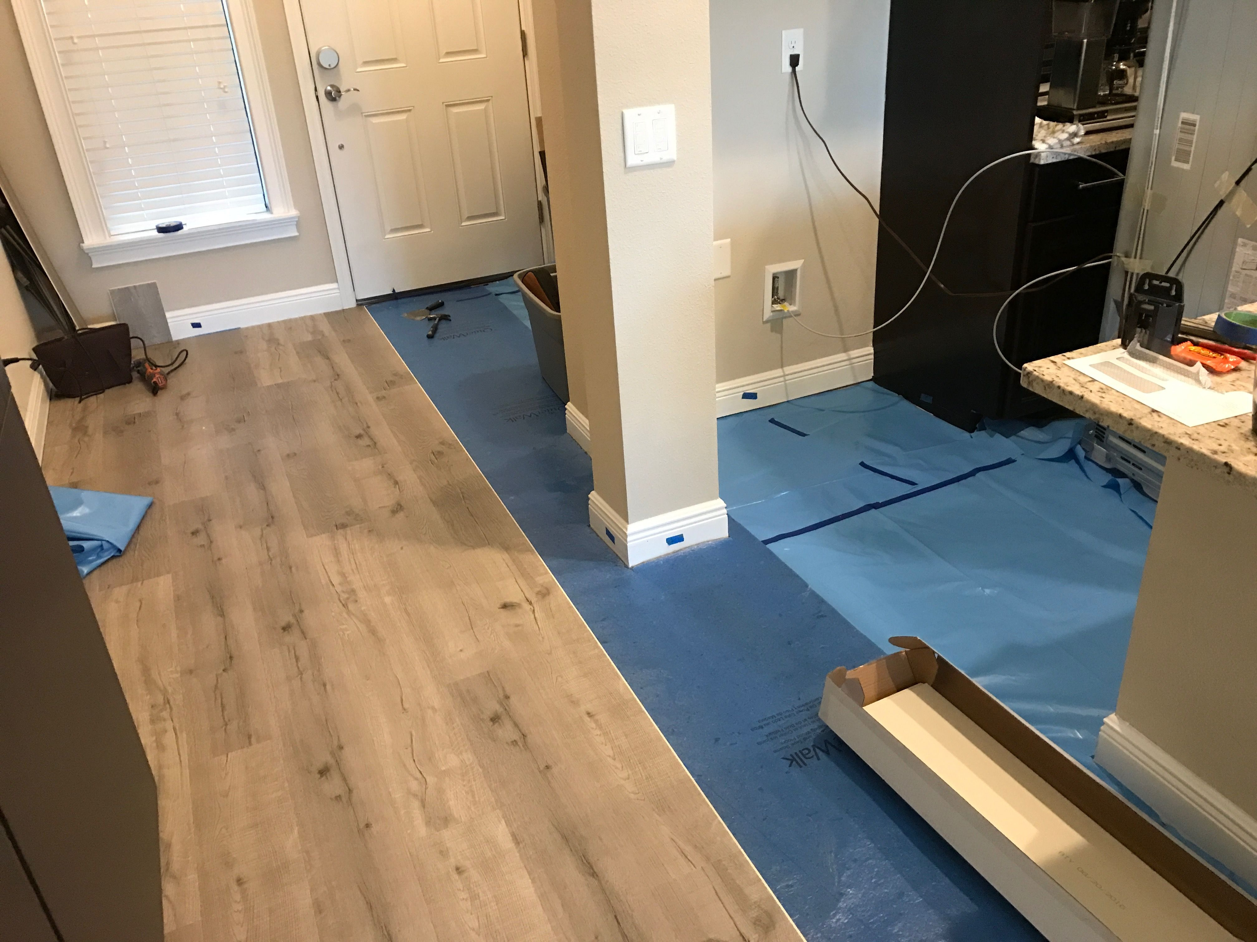 7mm Evp Vinyl Plank Flooring Over Existing Ceramic Tile With Moisture Barrier And Thin Pad No Separation And N Vinyl Plank Vinyl Plank Flooring Plank Flooring