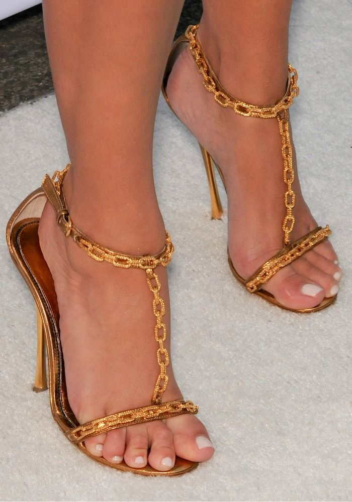 00b77592fba Kim Kardashian in Gold Chain Embellished Tom Ford T-Strap Sandals ...