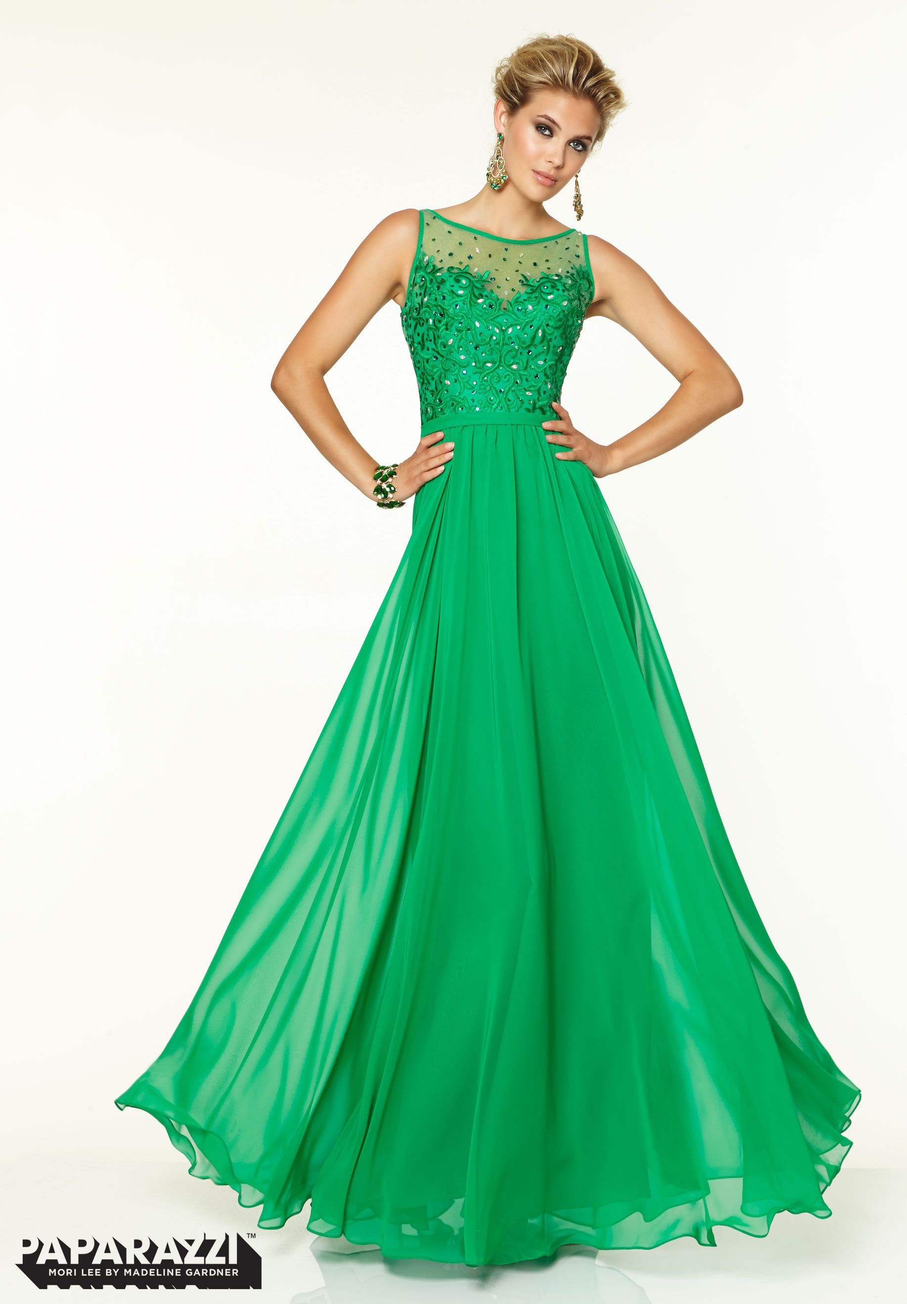 Gowns Chiffon with Beaded Embroidery  Green