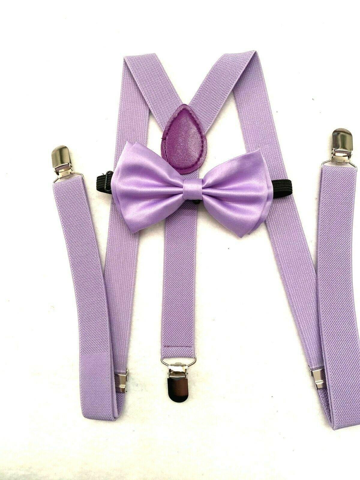 Lavender Purple Lilac Braces Suspenders Bow Tie Set Formal Prom Wedding