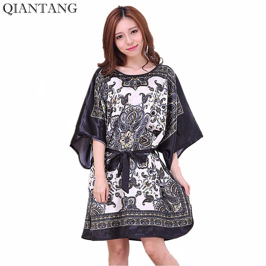 e0d1f70c3cb Plus Size Summer Women s Faux Silk Nigh Robe Black Lady Bath Gown Nightgown Bathrobe  Sleepwear Mujer