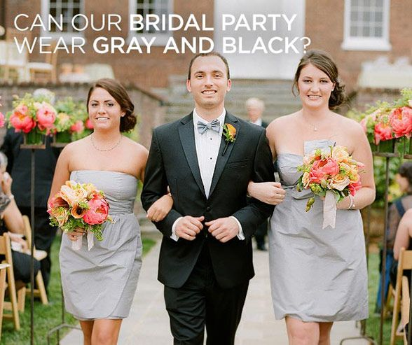 Crisp Gray Bridesmaids' Dresses Compliment This Groomsman