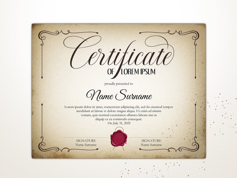 Vintage Certificate Template Editable Certificate Printable Etsy In 2020 Editable Certificates Certificate Templates Printable Certificates