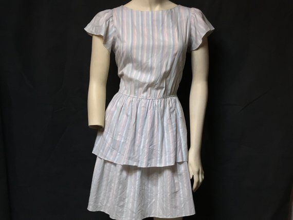 07a15953e42 Vtg JONI BLAIR of CALIFORNIA Dress   Pale Pastel Stripes Short Ruffle  Sleeves   80s Does 50s   Retro Hipster Glam Grunge Lolita Party Dress