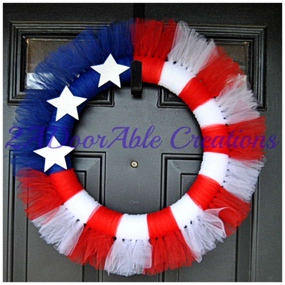 Photo of Patriotic Wreath – Tulle Wreath – American Flag Wreath – 4th of July Wreath – Summer Wreath – Spring Wreat